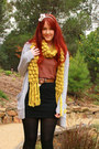 Mustard-scarf-black-skirt-coral-top-black-wedges-heather-gray-cardigan