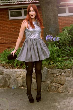 silver sequined dress - black heels