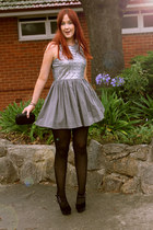 silver sequined dress - black heels