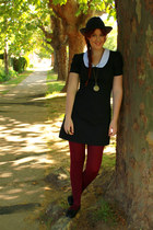 black dress - black panama hat - crimson berry tights - gold accessories - black