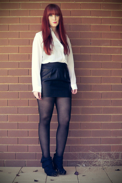 black boots - white sheer shirt - black leather skirt