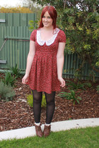 brown lace up rubi boots - red crochet collar Quirky circus dress
