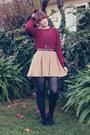 Maroon-sportsgirl-blouse-camel-dotti-skirt