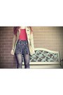 Black-boots-camel-coat-navy-heart-print-shorts-ruby-red-top