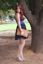 bronze Sportsgirl bag - navy dress