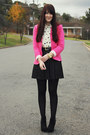 Hot-pink-ebay-blazer-white-elephant-print-asos-shirt-black-myer-skirt