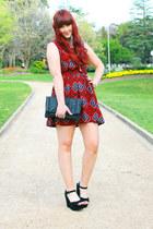 black wedges - red aztec print I Like Wolves dress