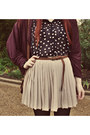 Navy-polka-dots-myer-blouse-magenta-ebay-cardigan