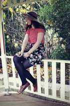 brown brogues shoes - camel floppy hat - black floral skirt - coral blouse