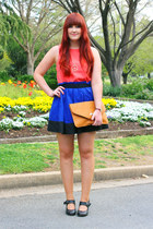 blue Dotti skirt - light orange envelope clutch Sportsgirl bag