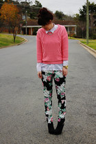 black floral pants - white sheer supre shirt - coral Dotti jumper