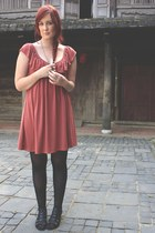 coral dress - black shoes - gold accessories
