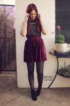 crimson velvet skirt