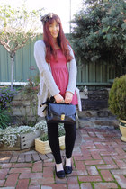 bubble gum dress - bronze scarf - navy vintage bag - heather gray cardigan - bla