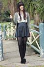 Cream-vintage-blouse-black-leather-ally-skirt-olive-green-cardigan
