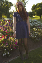 blue Dotti dress - camel rubi wedges - pink turban Sportsgirl accessories