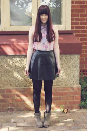 black leather Ally Fashion skirt - camel betts boots - light blue Jay Jays shirt
