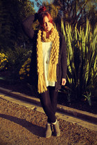 white lace dress - mustard scarf - gray cardigan