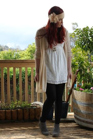white Dotti dress - beige cotton on cardigan - gray rubi boots - pink diva