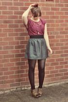 burnt orange leopard print Varsavia wedges - black leather H&M skirt