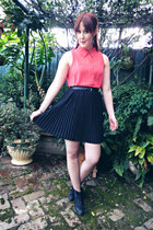 black skirt - coral blouse