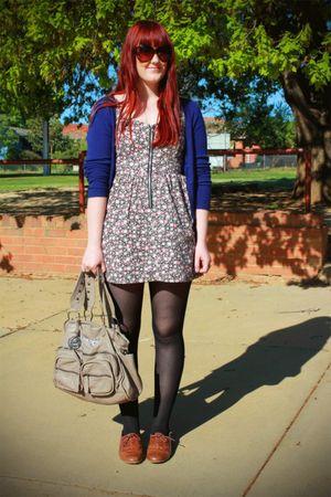 dress - blue cardigan - beige bag - brown shoes