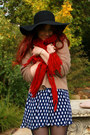 Navy-polka-dots-dress-black-floppy-sportsgirl-hat-ruby-red-scarf-camel-spo