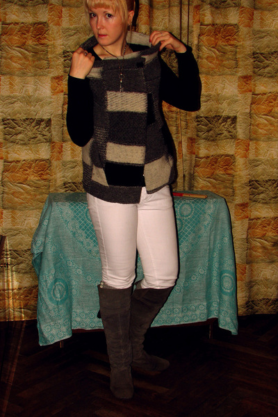 Zara vest - Mango jeans - Topshop socks - Dolcis boots
