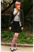 black H&M jacket - gray H&M sweater - purple Topshop tights
