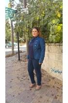 blue military jacket Macys jacket - silver Matalan shoes - navy Vero Moda shirt