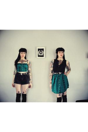 black vintage Levis shorts - teal handmade GutsGlamGlory top