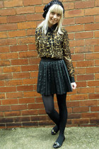 black Primark skirt - black sequin beret H&M hat - dark brown Missguided blouse
