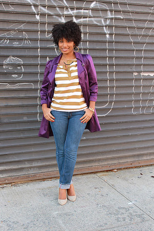 purple purple trench Forever 21 jacket - blue skinny jeans Express jeans