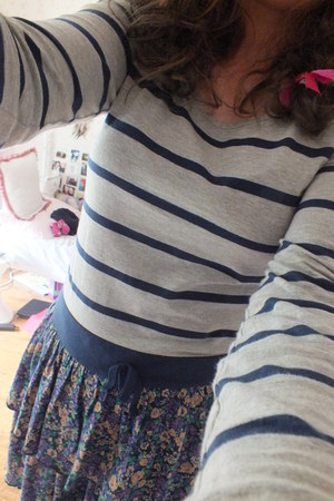 navy and grey striped and floral dress