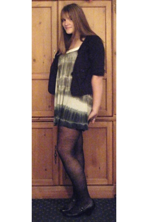 black Goodwill jacket - gray TJ Maxx dress - black kohls tights - black Payless