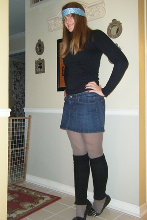 blue TJ Maxx skirt - black TJ Maxx shirt - silver Aldo tights - blue Bosten Stor