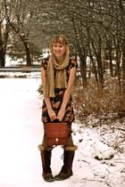 black dress - dark brown boots - brown purse - beige scarf