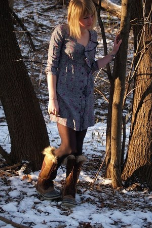 gray dress - brown boots