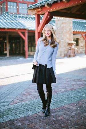 t by alexander wang skirt - stuart weitzman boots - Rebecca Taylor sweater