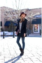Trina Turk coat - Joie boots - J Brand jeans - Trina Turk hat - vince sweater