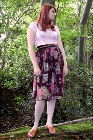 black chiffon Atmosphere skirt - bubble gum cotton Atmosphere t-shirt - bronze l