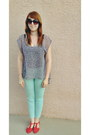 Mint-bdg-jeans-coral-cutouts-sandals-blouse-glasses