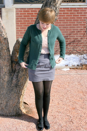 green Target cardigan - pink thrifted blouse - Urban Outfitters skirt - Target t