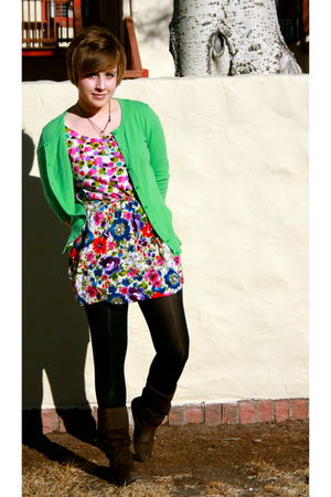 green Target cardigan - Urban Outfitters Tunic dress - brown boots - black Targe