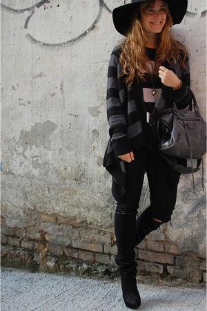 black Topshop boots - black Topshop pants - pink COS blouse - gray gerard darel