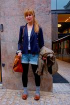 blue Zara blazer - brown COS shoes - green vintage jacket - brown Mulberry purse
