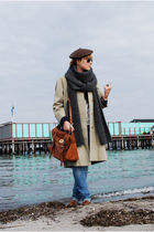 beige vintage burberry coat - brown COS shoes - brown Mulberry purse - blue H&M