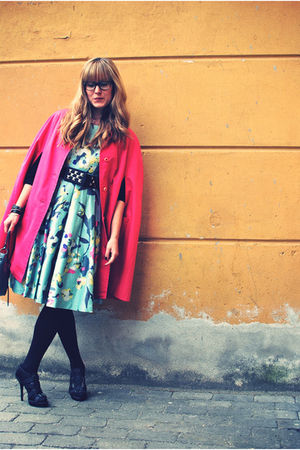 green H&M dress - pink vintage coat - black Zara shoes - pink Chanel necklace