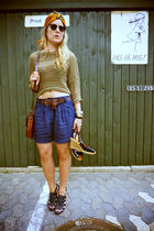 brown GINA TRICOT blouse - black Zara shoes - blue Topshop shorts - brown Mulber
