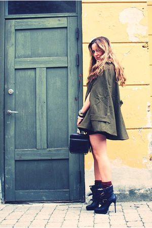 green asos coat - black Burberry Prorsum boots - black vintage bag